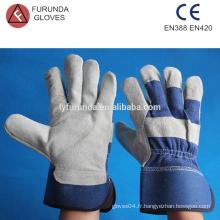 Gants de travail en cuir de cuir bon marché avec manchette de sécurité