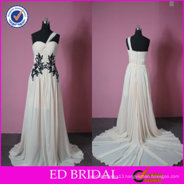 2015 Fall One-shoulder Pleated Lace Appliqued Two Color Night Gown