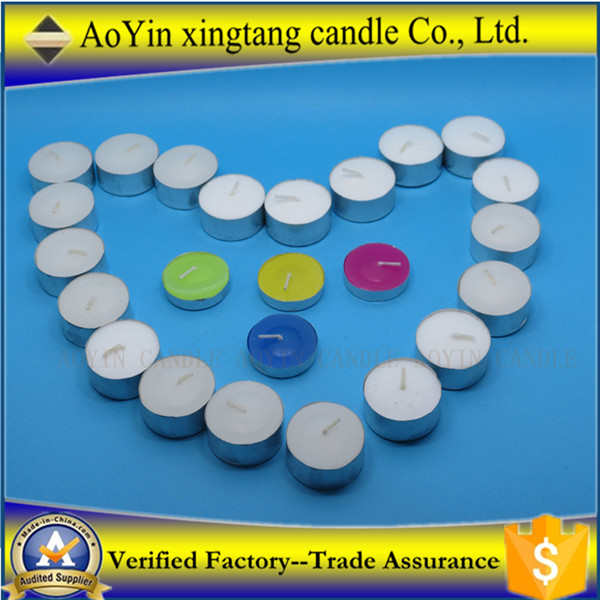 paraffin wax tealight candle with aluminium holder