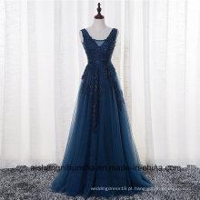 V-Neck Cap manga Vintage Lace apliques frisado Prom Dresses