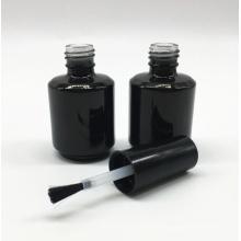 botella de esmalte de uñas de vidrio cosmético negro hecho a mano vacío uv gel 15ml