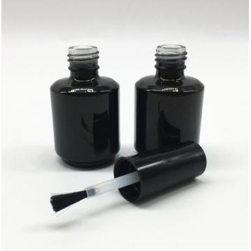 maßgeschneiderte leere UV Gel schwarz kosmetische Glas Nagellack Flasche 15 ml