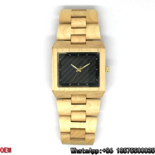 Relojes de madera cuadrados de bambú del arce de alta calidad de lujo Relojes de cuarzo Hl10