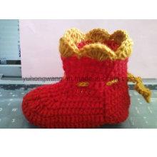 Warm Handmade Crocheting bebê meias, meias