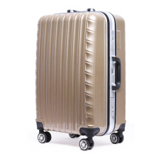 Brown Wave Molding Durable Travel Luggage / Suitcase / Trolley Bag Set