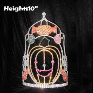 Candy Cane Halloween Pageant Crowns With Pumpkins