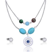 Africaine Custome Evil Eye perle Turquoise collier ethnique ensemble de bijoux