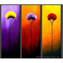 Peinture à l'huile abstraite à la main à la main à la fleur 3pcs à l'huile