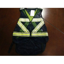 Safety Vest Black Colour with Reflective Caution Band 100%Polyester
