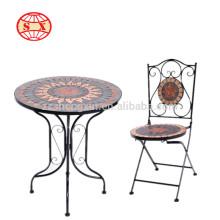 Nova mesa e mesa de jardim de mosaico antigo
