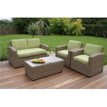Novo 4PCS Green Rattan cadeira de jardim Set