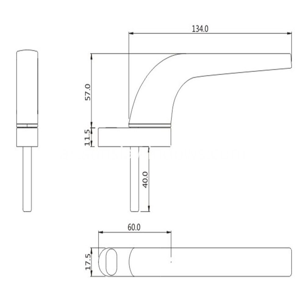 aluminium door and window handles drawing