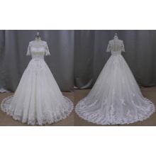Vestido de boda apliques de encaje de manga corta