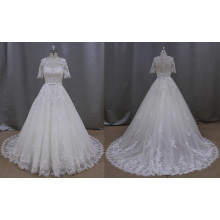 Short Sleeve Lace Applique Wedding Dress