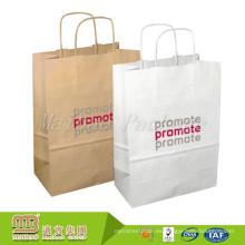 Mango torcido impreso personalizado de encargo de la compra que empaqueta la bolsa de papel de Brown Kraps 80Gsm