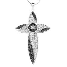 Black White Stone 925 Silver Cross Pingentes Colar Jóias