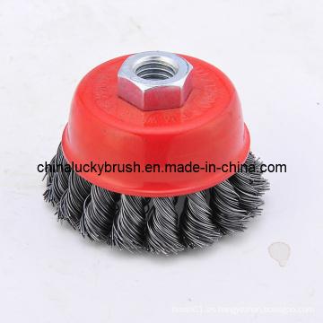 2.5inch alambre de acero anudado cepillo de la Copa (YY-039)