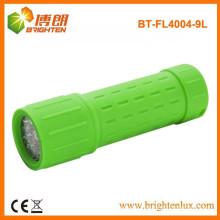Factory Supply Camping Emergency 9 lampe de poche en plastique à caoutchouc LED