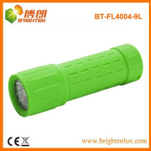 Abastecimento de fábrica Emergência Camping 9 LED Borracha lanterna de plástico baratos