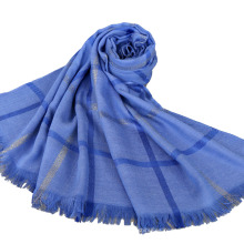 2017 venta superior de la última dama de la moda algodón llano elegante comprobado hijab musulmán de alambre de oro con borlas