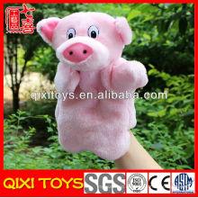 süße weiche Plüsch Schwein Handpuppen Spielzeug zum Verkauf machen Handpuppen