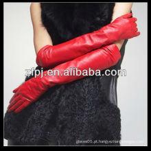Senhoras luvas de manga longa de moda de pele de carneiro
