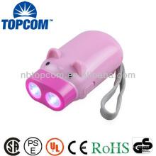 La forme animale 2 conduit la mini lampe à main manuelle à manivelle