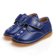 Navy Baby Boy Squeaky Shoes Chaussures en cuir véritable