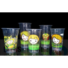 Disposable Clear Pet Plastic Cup with Lid Logo Printed