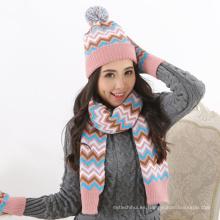 Fuente de fábrica hilo de lana de invierno las mujeres orden de encargo de punto invierno 2 piezas de sombreros y guantes