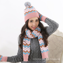Factory supply woolen yarn winter women custom order knitted Winter 2 Piece Hat And Gloves Set