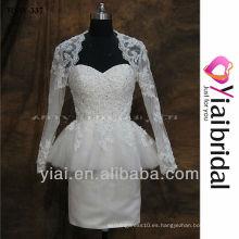RSW337 encaje de manga larga vestidos de boda corto