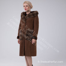 Spain Merino Shearling Hooded Luxury Manteau pour les femmes