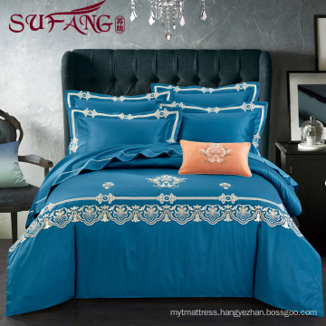2017 Factory Directly Luxury Comfortable Adult Queen Size Hotel bed sheets Linen Supplier 100% Cotton embroidery
