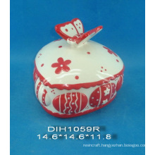 Hand-Painted Ceramic Jewelry Box with Butterfly Decoration