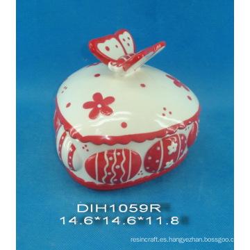 Caja de joyería de cerámica pintada a mano con decoración de mariposa
