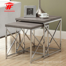 Metal Frame and Wood Top Coffee Table Set