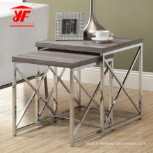 Ensemble table basse à structure en métal et dessus en bois
