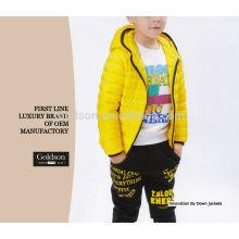 Deporte de peso ligero pato abajo pluma niños chaqueta de invierno con capucha