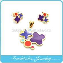 TKB-S42 Melhor design 2014 em forma de flor colorida esmalte conjunto de jóias de aço aço cirúrgico jóias conjuntos de aço inoxidável para as mulheres