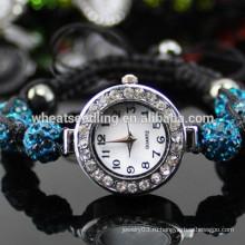 Браслет часов оптового белого кристаллического Shamballa