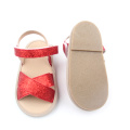 Red Kids Glitter Shoes Zapatos de goma Kids Sandal