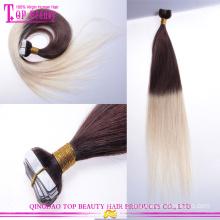 2015 fábrica ombre barato por atacado cabelo extensão virgem indiano remy cabelo extensão da fita