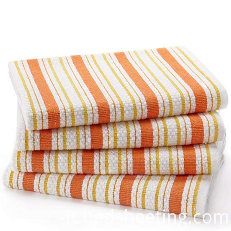 Basket Weave Striped Pattern Dish Towel