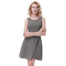 Kate Kasin Sleeveless Round Neck A-Line Chiffon Dark Grey Summer Dress KK000625-5