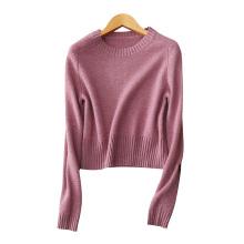 Kurze pullover pullover für dame 100% kaschmir kabel strickpullover O hals einfarbig dicke pullover