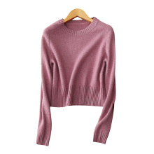 Short pullover sweaters for lady 100% cashmere cable knitting sweater O neck solid color thick sweaters