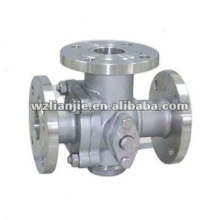 3 Way Stainless Steel Steam Ball Valve Flange Ends T Port