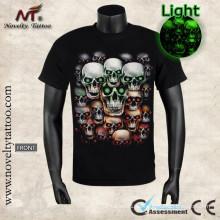 Y-100208 Cráneo Demonio En Camiseta Resplandor Luminoso El Oscuro SML XL