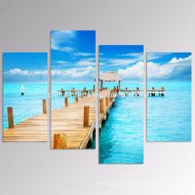 5 paneles Arte azul soleado de la pared del paisaje marino / puente de madera en la impresión de la lona del mar / arte de la pared de la lona de la playa
